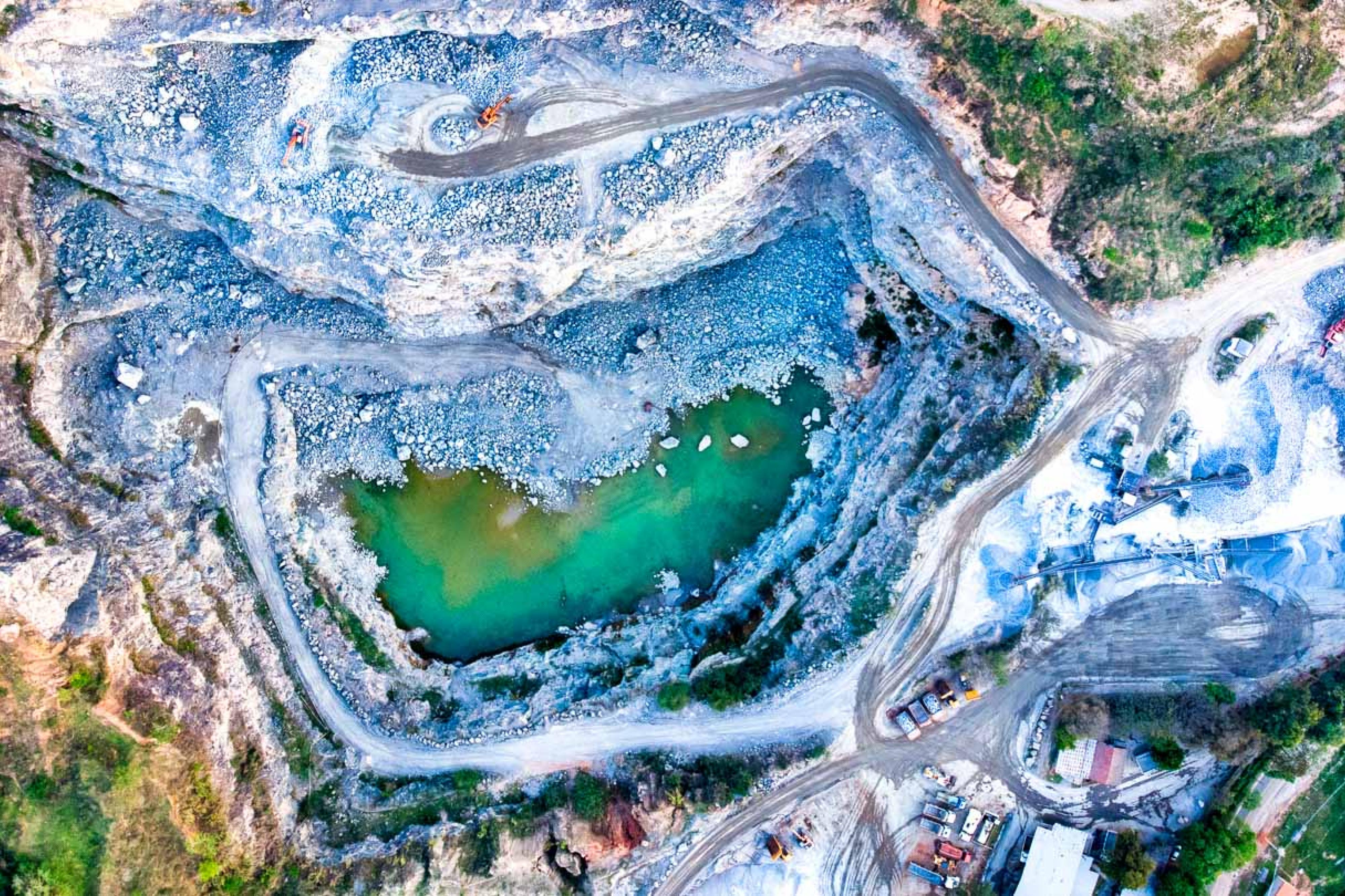 Aerial view of a quarry