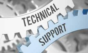 "Graphic of gears with ""Technical Support"" text"