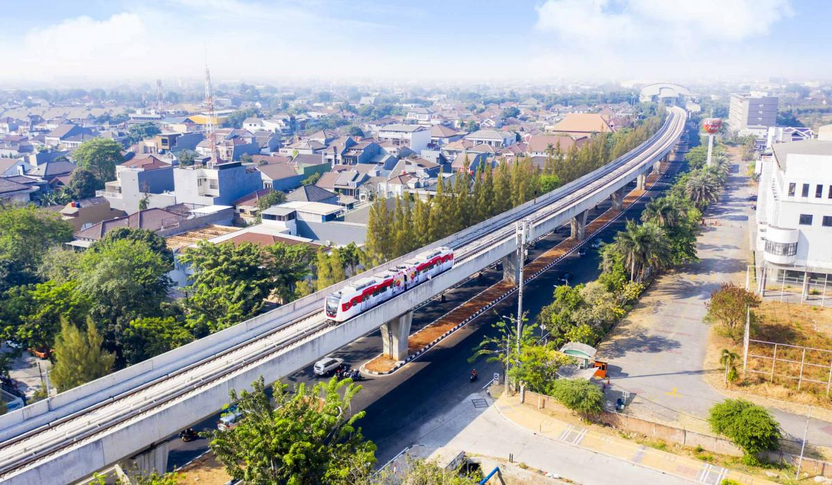 Jakarta high speed train rail with cityscape behind